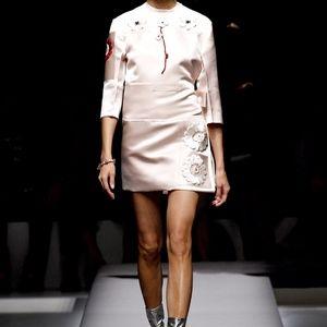Prada  Runway Pink Silk Flower Embroidery Skirt